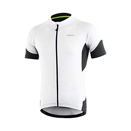 BERGRISAR Men's Basic Cycling Jerseys Short Sleeves Bike Bicycle Shirt Zipper Pockets White Size X-Large