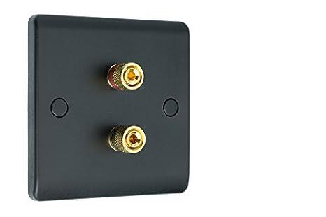 2 POST MATT NEGRO Slimline Audio / AV Sonido Envolvente Altavoz PLACA DE PARED CON ORO vinculante mensajes. SOLDADOR: Amazon.es: Electrónica