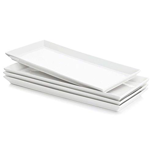 Sweese 702.101 Rectangular Porcelain Platters, Serving Trays for Parties – 13.8 Inch, Set of 4, White