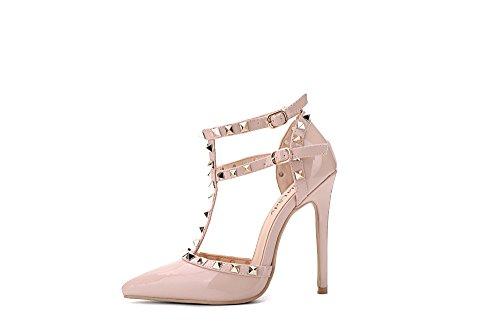 Mila Lady Ether08 Two-tone Patent Strappy Enkel Met Stud Elegance Platform Lady Hakken Pumps Schoenen! Naakt