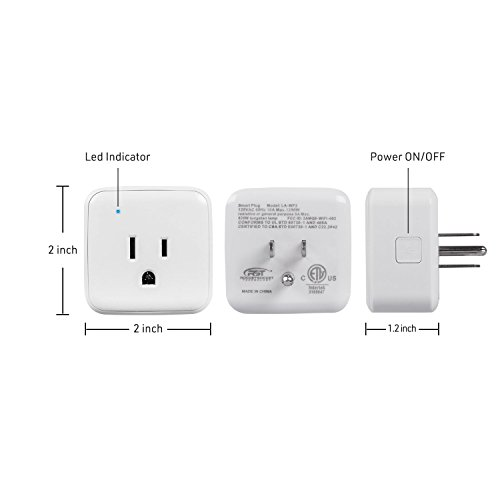 CRST 2 Pack 1250W/5A Wi-Fi Control Smart Plug Mini Outlet Compatible with  Amazon Alexa, Echo, Google Assistant, and IFTTT, No Hub Required, ETL Listed