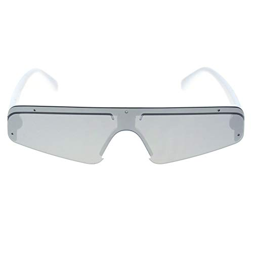 Top Rim Narrow - Flat Top Futurism Robotic Disco Narrow Half Rim Plastic Sunglasses White Silver Mirror