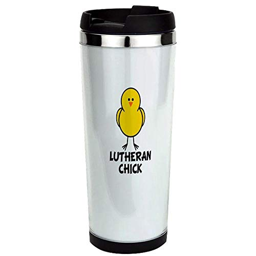 (Lutheran Chick Stainless Steel Travel Mug, Insulated 14 oz. Coffee Tumbler. )
