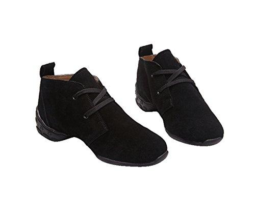 Miyoopark Ks8872 Womens Snörning Med Två Ögon Mocka Modern Jazz Dansskor Sport Fitness Sneakers Svart