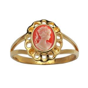 1001 Bijoux - Bague plaqué or camée rose orangé ovale et dentelle