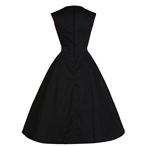 Two Gonna Fibbia Clarity Vintage Petticoat Swing Style Bow Swing Knot High maniche Audrey Vita Gown Ball Pastel Rockabilly Padgene senza 50 Party Anni Hepburn Donna Impero Nero npCI1qw