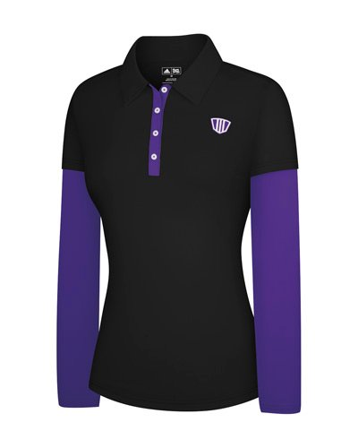 Adidas Taylormade Womens FP Long Sleeve Color Block Polo Shirt (XS (0), Black/Purple)