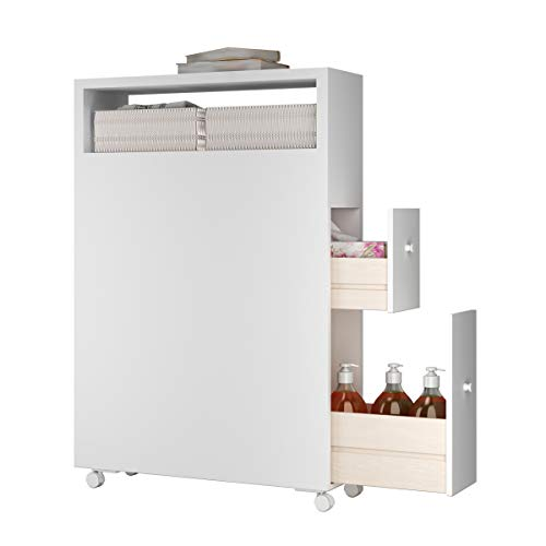 Tangkula Modern Bathroom Storage Cabinet with Wheels, Rolling Bathroom Floor Cabinet, Free Standing Toilet Organizer, Floor Storage Cabinet with Drawers and Baskets, White (White) (Basket Drawers White)
