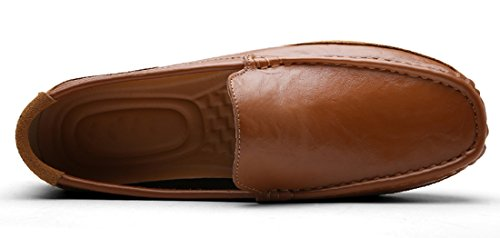 Tda Slip-on Para Hombre De Cuero De Suela De Conducción Informal Mocasines Para Caminar Zapatos De Barco Marrón