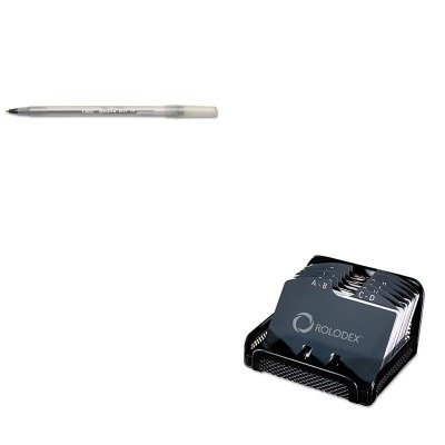 KITBICGSM11BKROL22291ELD - Value Kit - Rolodex Metal/Mesh Open Tray Business Card File Holds 125 2 1/4 x 4 Cards (ROL22291ELD) and BIC Round Stic Ballpoint Stick Pen (BICGSM11BK)