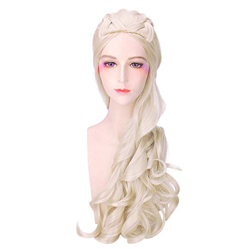 6a126cde58b Costume Wigs for Game of Thrones Daenerys Targaryen Khaleesi Long Halloween  Cosplay Wavy Curly Hair Wig (Blonde)