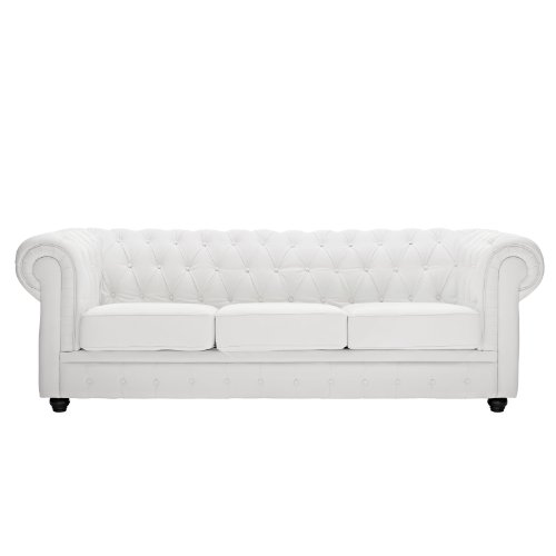 Charming Modway Chesterfield Sofa In White Leather And Leather Match