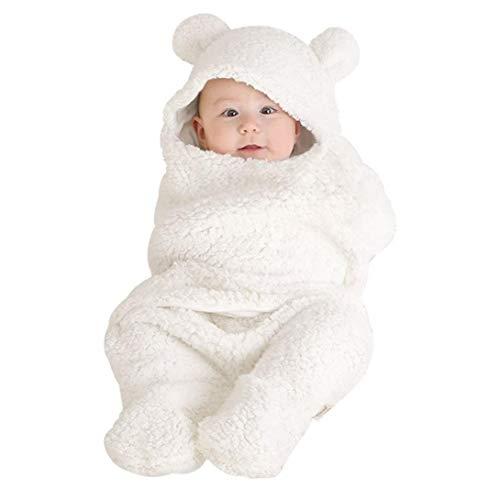 (SUNBIBE0-12 Month Old Baby Cute Cotton Ear Receiving Swaddle Sleeping Bag Stroller Cross Wrap Blanket Photography Prop)