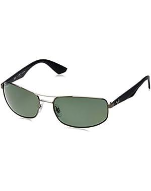 Metal Man Sunglasses - Matte Gunmetal Frame Polar Dark Green Lenses 61mm Polarized