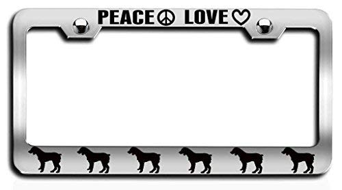 Peace Love Brittany Spaniel Dogs Pets License Plate Tag Holder Metal Frame Car Tag Frame Auto License Plate Tag Holder Metal Holder 12in x 6in