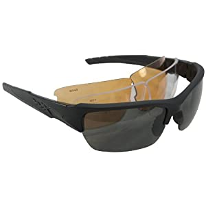 Wiley X Valor Sunglasses (Smoke Grey/Clear/Light Rust Lenses, Matte Black Frame)