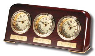 Multi Time Zone Clock (Multi Zone Clock in Mahogany Finish)