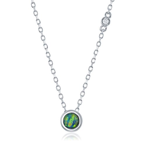 (Sterling Silver Dainty Round Created Blue Opal with Single Bezel-Set Cubic Zirconia 16+2