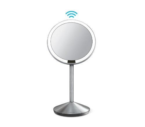 simplehuman Mini Sensor Lighted Makeup Travel Mirror 5' Round, 10x Magnification, Stainless Steel, Rechargeable