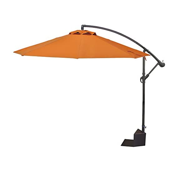 Island Umbrella Santiago Octagonal Cantilever Spa Side Umbrella, Terra Cotta - Rigid Steel base plate with rust-resistant, powder-coated finish 10-ft octagon umbrella canopy with single wind vent; provides up to 71 Square feet of shade Comes with sandstone-colored, polyester umbrella cover with durable nylon zipper and draw string closure - shades-parasols, patio-furniture, patio - 31qJaz4r4vL. SS570  -