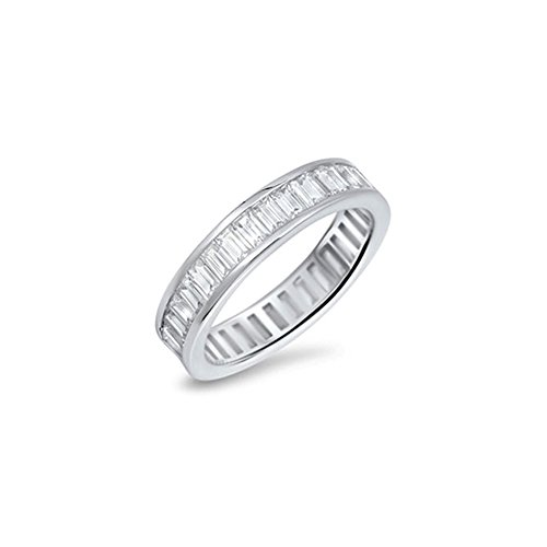 (Noureda Sterling Silver Thick Eternity Band Ring with Baguette Clear Cz Stones, Band Width of 5MM)