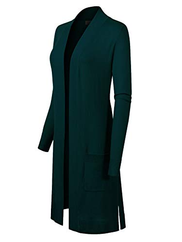 Instar Mode Solid Soft Stretch Long-Line Long Sleeve Cardigan [S-XL] Teal M ()