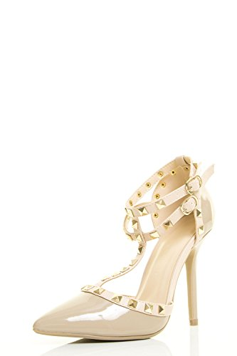 Wild Diva Womens Pointy Toe Gold Stud Strappy Ankle T-Strap Stiletto Heel Pump Sandal 7 Natural