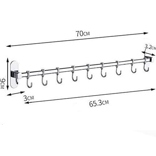Yjkegjvdgf Punch-Free Towel Hook Stainless Steel Bathroom Bath Hooks Coat Hook Wall Hooks Kitchen Hooks (Color: A, Green: 9x40cm) (Color : A, Size : 9x70cm)