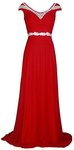Conail Coco Women's Tulle Beading A-Line Bridesmaid Prom Dresses Long Cocktail Evening Gowns (Medium,54Red)
