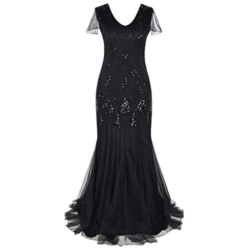 Dresses for Womens, FORUU Ladies Sales 2018 Winter Warm Under 10 Best Gift for Girlfriend Women Vintage 1920s Bead Fringe Sequin Lace Party Flapper Cocktail Prom Dress ()