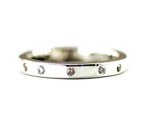Sterling Diamond Wedding Ring - Eternity Style Band - Size (Style Diamond Eternity Band)