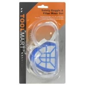 4 Pk, ToolMart Safety Google and Filter Mask Set by ToolMart