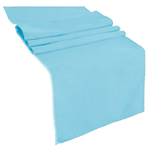 runner linens Table Runner 14x108 Inches Ideal for Wedding, Baby Shower, Home, Restaurant, Party rental By Factory (Light Blue)