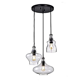 jojospring Tasia Antique Black/Clear Mouth-Blown Glass Cluster Pendant Chandelier