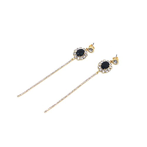 Delice N Delight Fashion Jewelry Women Earrings NewYork-14K Gold plated black onyx stone chain - Go Glasses To With Hairstyles