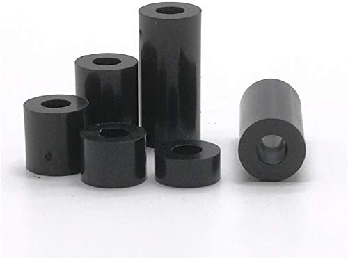 YJZG 50pcs M3 M4 black or white ABS Rround spacer standoff Nylon Non-Threaded Spacer Round Hollow Standoff Washer Color : Black colour, Length : 9mm, Size : M3