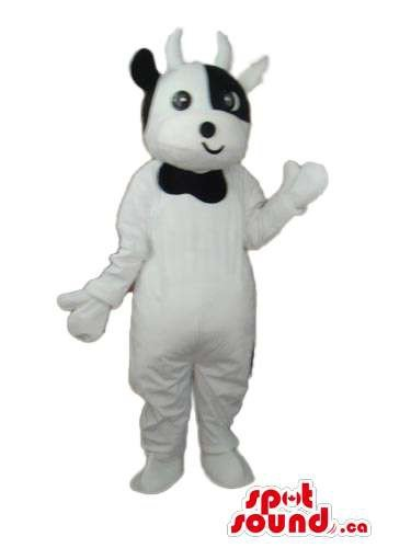 Cute White Cow Plush Mascot SpotSound US With A Small Smiling Mouth (Plush Cow Mascot Costume)