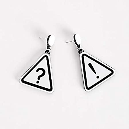 White Unique Street Fashion Triangle Harbor Tide Brand Exaggerated Exclamation Point question Mark Symbol Acrylic Earrings Earring Dangler Eardrop