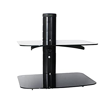 Good Black 2 Tier Tempered Glass Floating Adjustable Wall Mount Stand Rack Shelves  Shelf For TV DVD