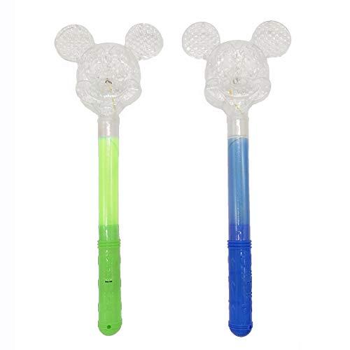 2 Pcs Light Up Magic Wand Princess LED Wand Mouse Mickey Ears Flashing Mouse Wand (green,blue)