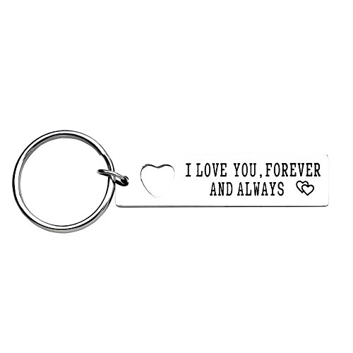 I Love You Forever and Always Keychain His and Hers Stainless Steel Anniversary Wedding Gift Boyfriend Gift (Keychain Love)