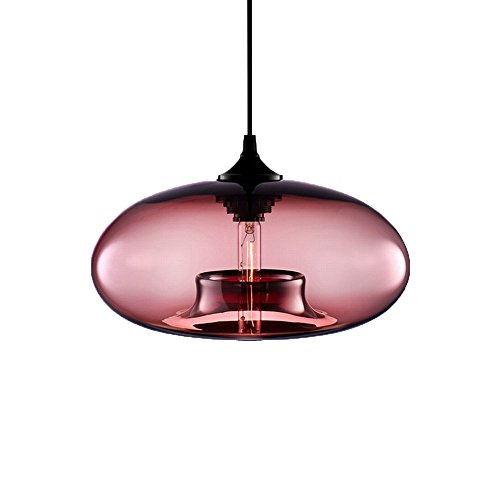 Newrays Loft Vintage Antique Industrial Hand Crafted Blown 6 Colors Glass Ball Pendant Lights For Hanging Kitchen Island Lights Restaurant Dining Cafe Bar Edison Lighting Fixtures (Wine (D28 Glasses)
