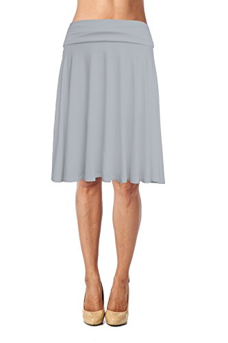 - Womens Basic Soft Stretch Mid Midi Knee Length Flare Flowy Skirt Made in USA-Light Grey,X-Large