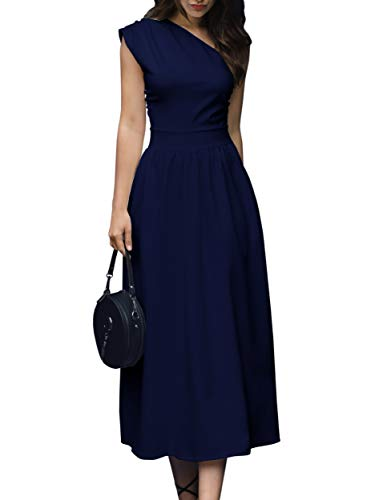 GAMISOTE Womens One Shoulder Dress Elegant Summer Sexy Formal Evening A Line Midi Dresses Blue