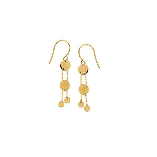 14k Yellow Gold Double Disc Dangle Fishwire Earrings