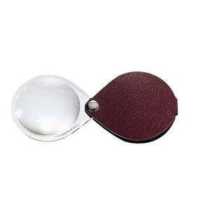 - Eschenbach Classic No. 17401-50 50mm 10D 3.5x Folding Round Magnifier with red / burgundy Leather Case