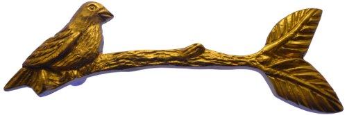 Cast Brass Drawer Pull - Brass Elegans Bird on a Branch Design Cast Brass Cabinet Pull in a Designer Matte Brass Finish Brass Elegans Model #105BD-MB Matte Brass
