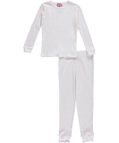Toddler 2-Piece Thermal Long Underwear Set - White, 3t (Little Girls Long Underwear)