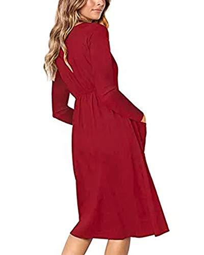 Vestito Abiti Midi A Il Con Lunga Vino Rosso Linea Giù Tasche Womens Tasto Manica Con V Una Casuali Scollo nzC86Oqxw