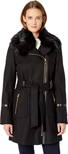 - Via Spiga Women's Asymetrical Wool Coat with Faux Fur Collar and Faux Leather Belt Black 12